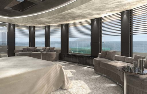 master suite with 180-degree views on board charter yacht SOLO