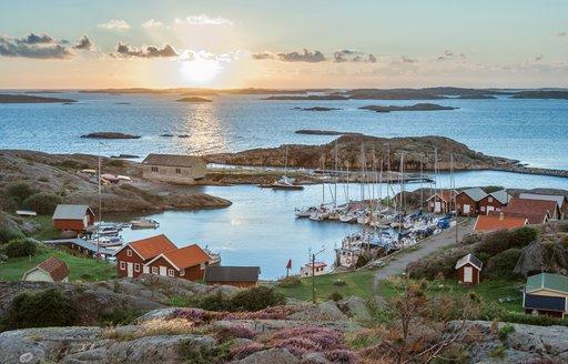 Fishing harbour of swedish skerry Island of Ramsoe,