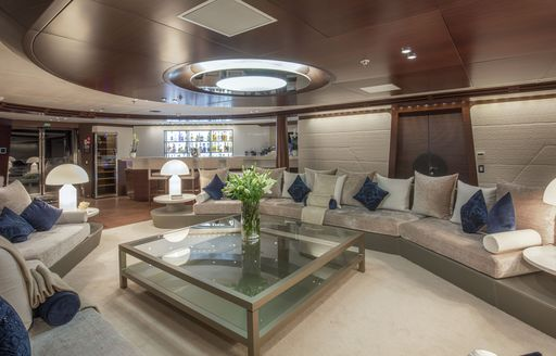 The salon and living space aboard luxury yacht KATINA