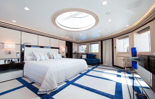 Alberto Pinto-styled master suite with wonderful views aboard superyacht AXIOMA
