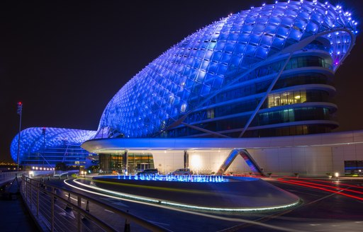yas marina circuit light up at night after the fionale of the 2019 abu dhabi grand prix