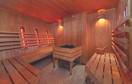 Sauna on superyacht Sherakhan