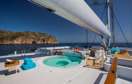 sundeck on luxury yacht aquijo