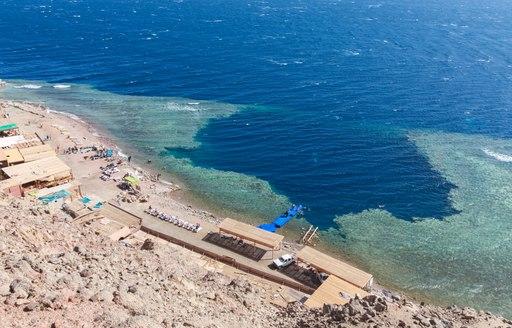 Red Sea blue hole, birds eye shot