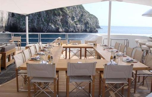 The central alfresco dining option on board superyacht TV