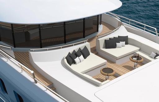 Exterior seating on luxury yacht Plvs Vltra