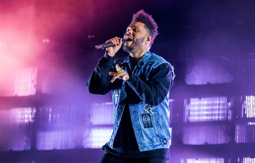 The Weeknd singing on stage