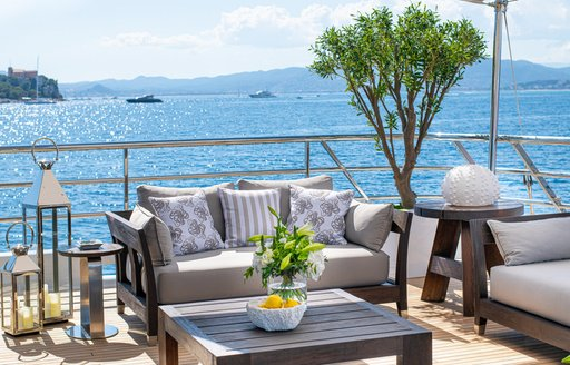 alfresco deck and seating area on superyacht spirit from amels