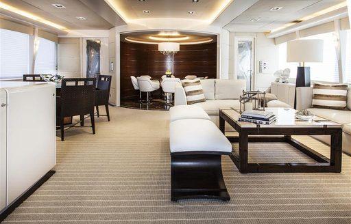 Main salon of luxury yacht CHARISMA