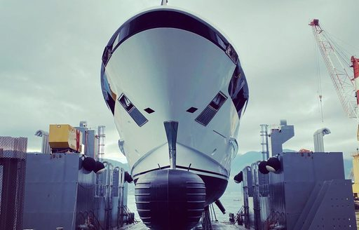 luxury yacht lady lena prepares for launch