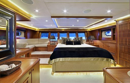 spacious full-beam master suite on board charter yacht DAIMA
