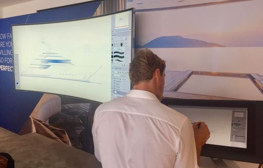 live superyacht designer on the Feadship stand at FLIBS 2017