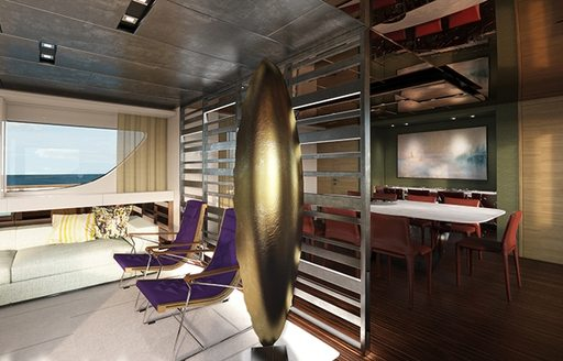 screen divides lounge from dining area on board charter yacht TAKARA