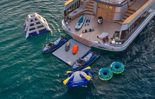 swim platform and beach club on geco yacht