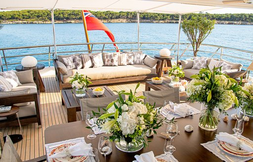 Aft dining onboard MY Spirit