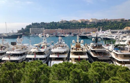 The yachts lined up in Port Hercules for the Monaco Grand Prix