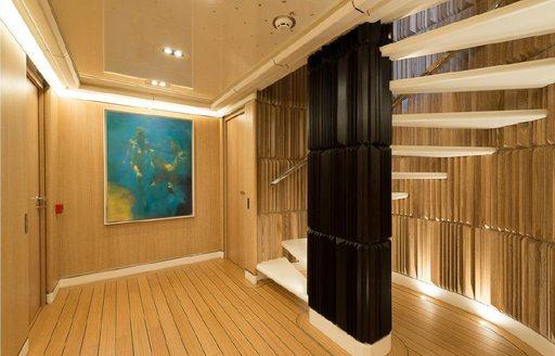 Lower deck interior of yacht Aquarius