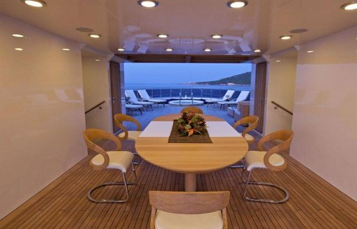 The transition point between interior and exterior spaces on luxury yacht O'MEGA
