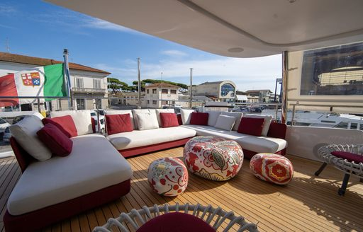 seating space on the deck of luxury yacht happy me
