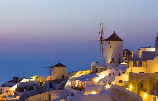 Windmill in Oia Village in Santorini, Greece