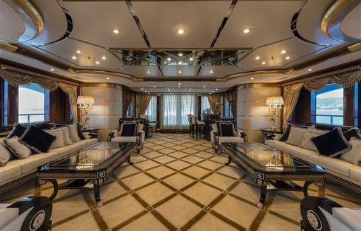 The elegant furnishings of superyacht Mine Games