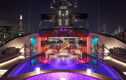 Swimming pool onboard MY Kismet at night