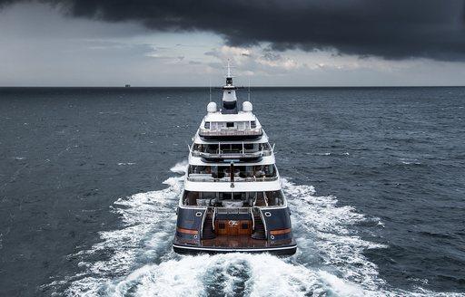 Luxury yacht TIS aft decks as she cruises underway