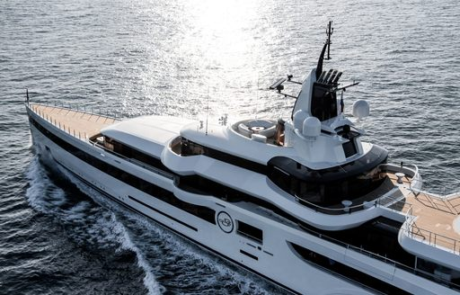 Detailed shot of motor yacht Lady S