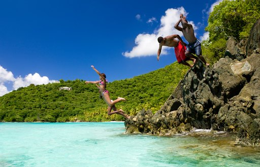 Virgin Islands jumping into sea