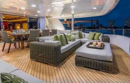 Alfresco seating and dining on superyacht claire