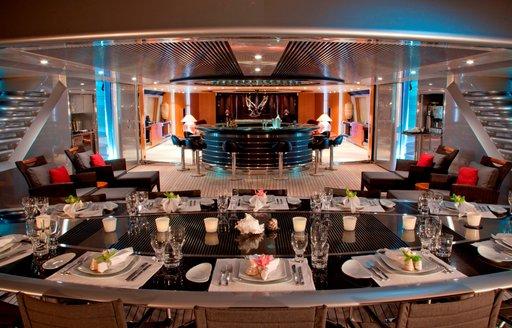 alfresco dining in cockpit on board superyacht Maltese Falcon