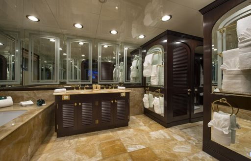 the master head in luxury yacht the wellington is grander than most regular bathrooms in standard mansions and are all finished with marble