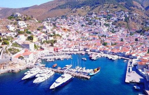 Aerial view of superyacht destination Hydra, Greece