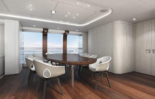 Sumptuous dining area onboard Heesen's project Altea
