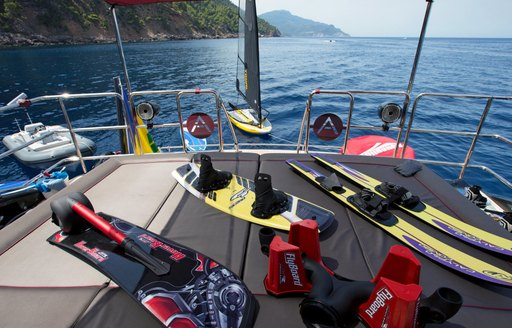 extensive selection of water toys lined up on board motor yacht ASCARI