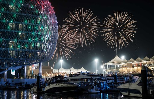 Fireworks at the end of the Abu Dhabi Grand Prix over the marina