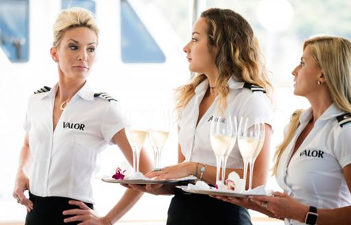 Kate Chastain talking to Brianna and other stewardess Jen on hit Bravo TV show Below Deck