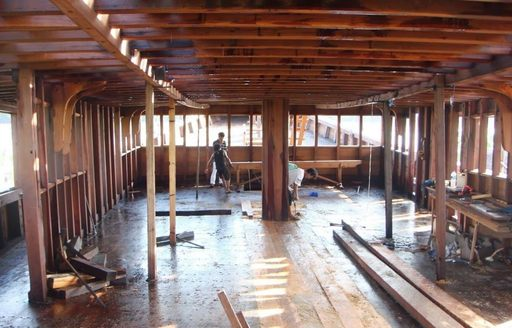 The construction of the interior of luxury phinisi Dunia Baru