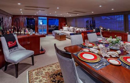 main salon and formal dining area on luxury broward yacht blackwood