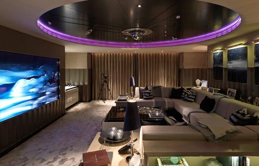 the state of the art cinema room on the upper lounge of superyacht SEALYON