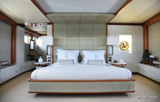 Master suite onboard MY Life Saga