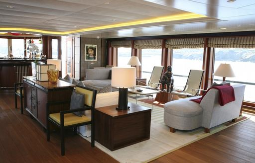 luxury motor yacht PEGASUS upper salon feature large windows which offer great views