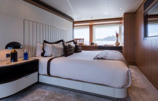 Cabin and window aboard motor yacht GO