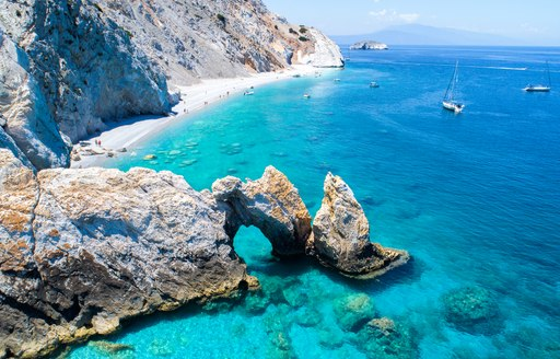 Clear blue water by the beach in Greece
