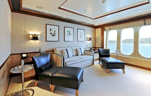 The salon to the master suite on board TV