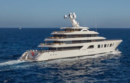 Aquarius motor yacht cruising open waters