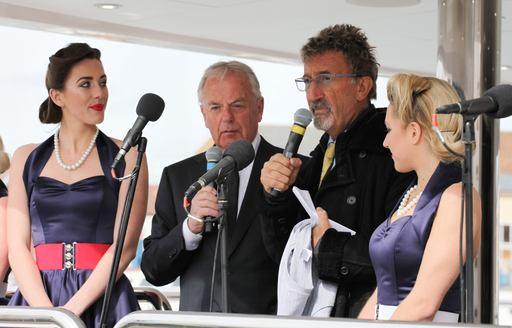 Eddie Jordan makes a speech at the lauch of his new Sunseeker yacht BLUSH