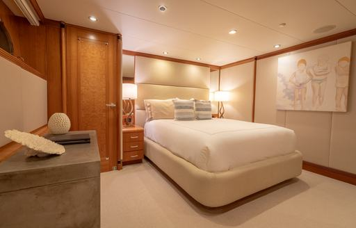Double bed in cabin on superyacht ZEAL