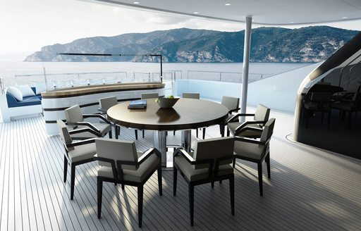 the alfresco dining area located on the main aft deck of superyacht SOARING by Abeking & Rasmussen