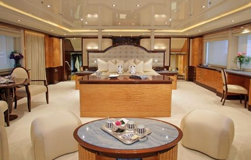 A stateroom featured on board superyacht 'Lady Lola'